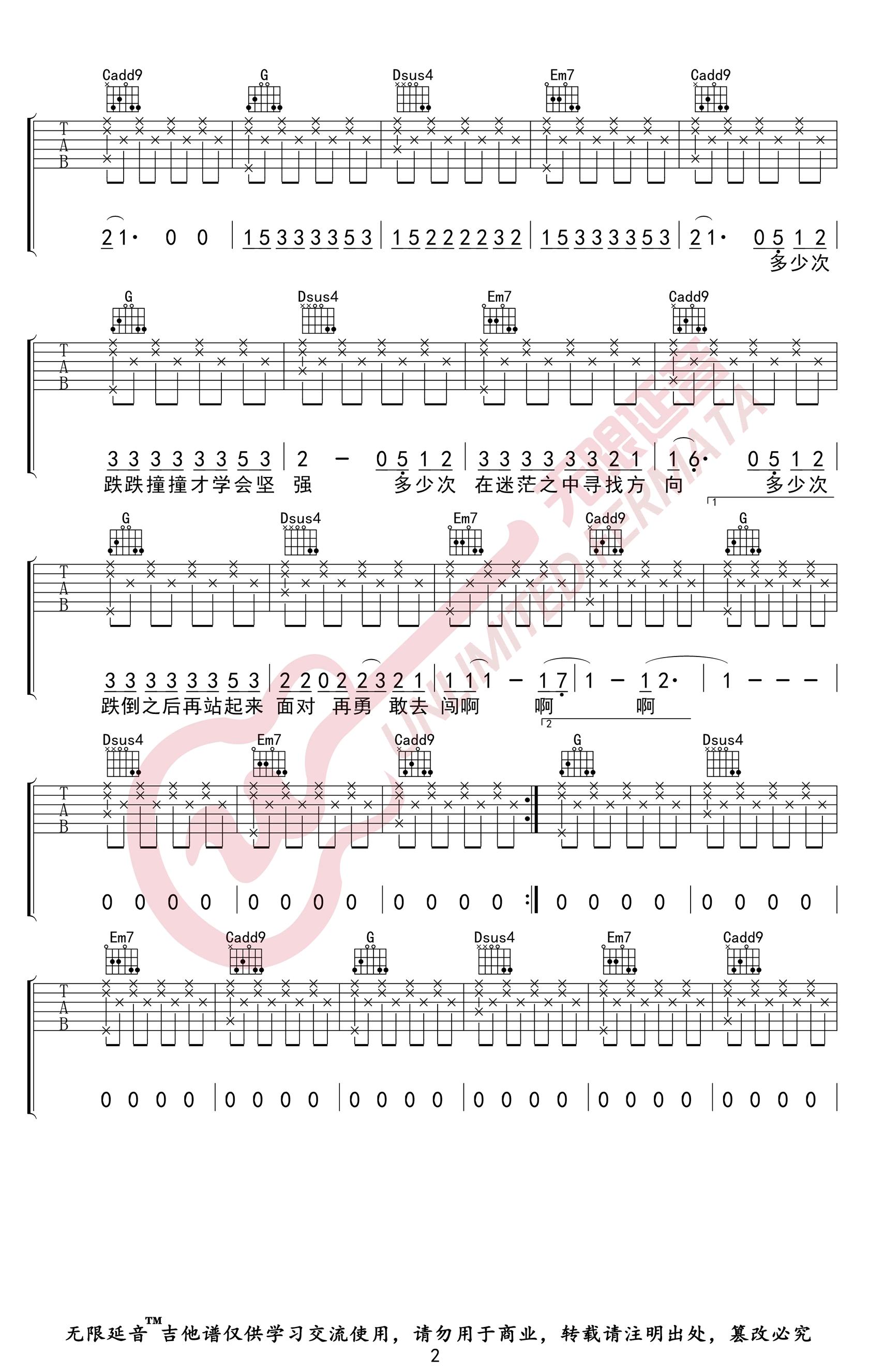 微微吉他谱_傅如乔_《微微》G调弹唱六线谱_高清图片谱2