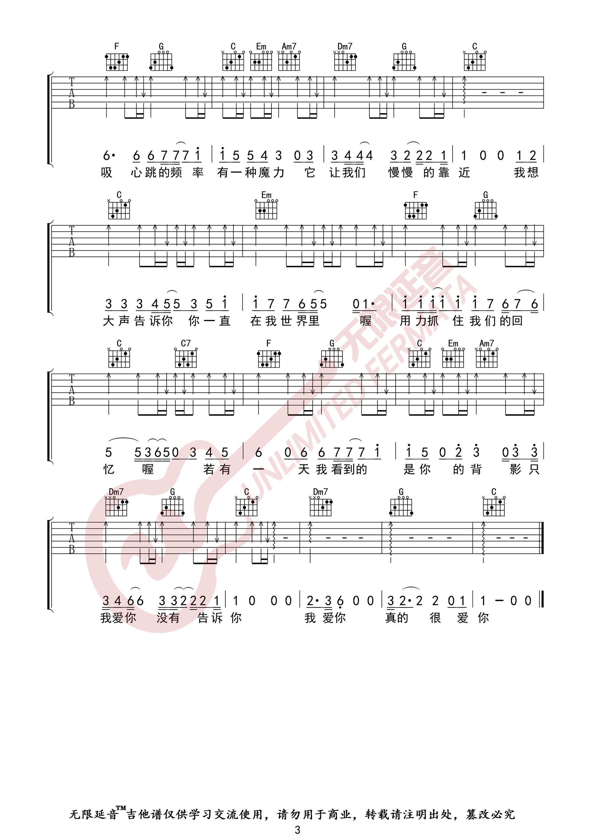 我想大声告诉你吉他谱_樊凡_C调高清六线弹唱谱