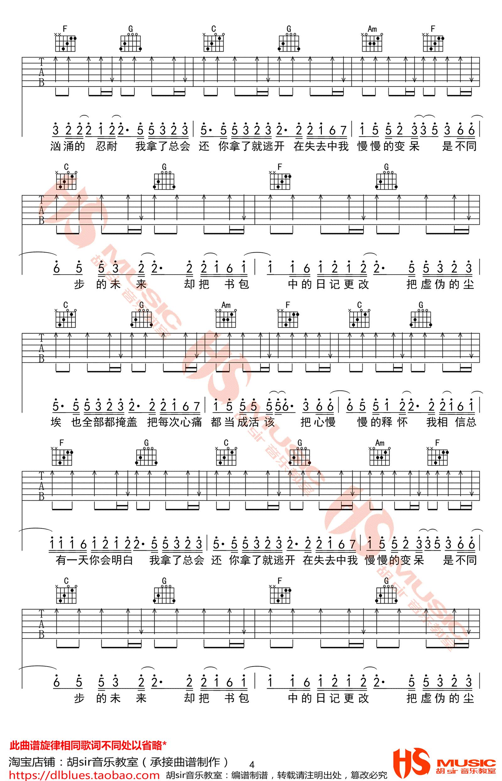 去年夏天吉他谱 C调原版民谣弹唱六线谱 - 王大毛