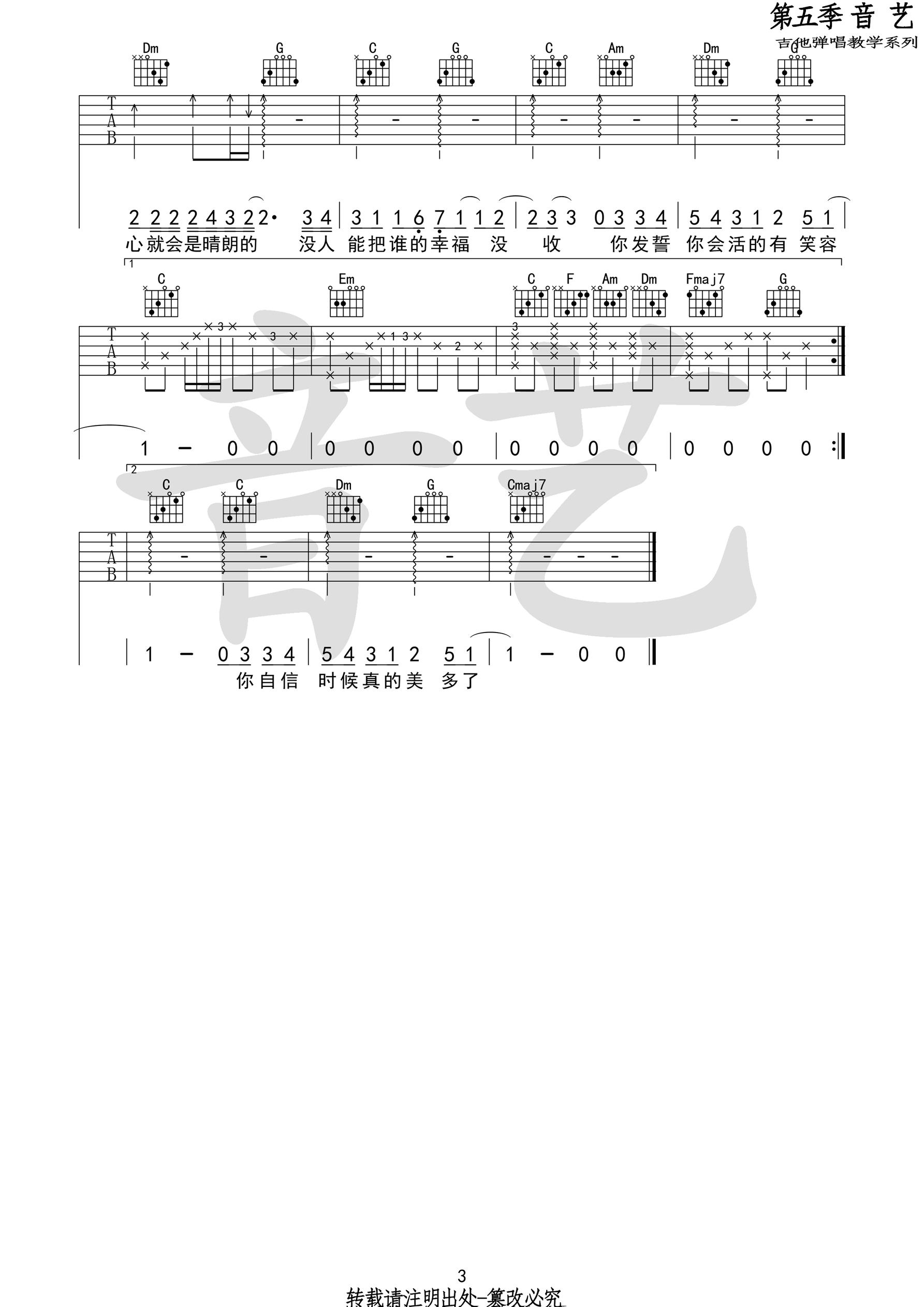 梁静茹《分手快乐》吉他谱 C调弹唱六线谱图片谱