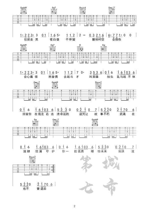 破茧吉他谱_张韶涵_《破茧》C调原版弹唱六线谱_高清图片谱2