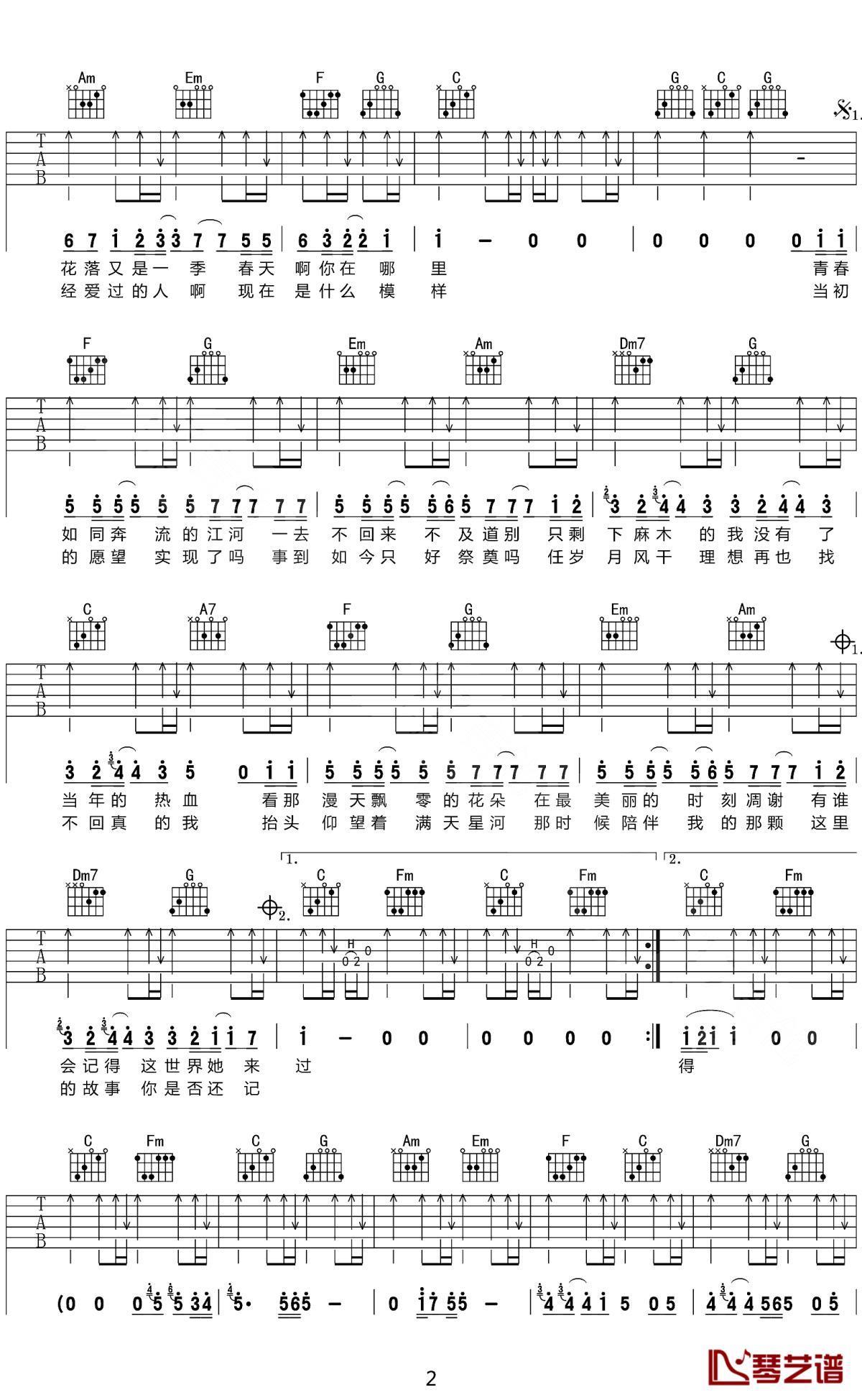 老男孩吉他谱 筷子兄弟 C调民谣吉他弹唱曲谱2
