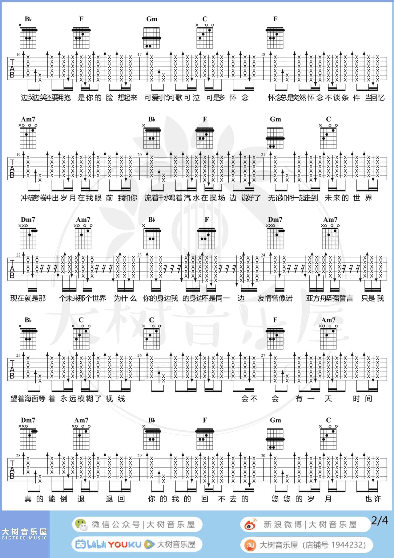 干杯吉他谱 G调简单版(五月天歌曲)