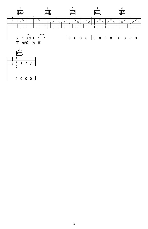 你不知道的事吉他谱-王力宏G调编配吉他谱