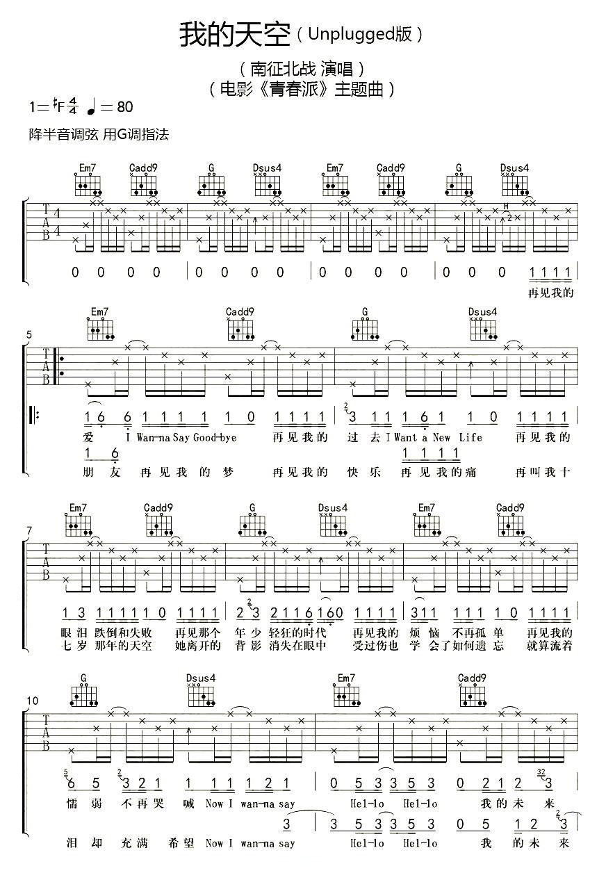 我的天空_南征北战NZBZ_高音质吉他谱教学