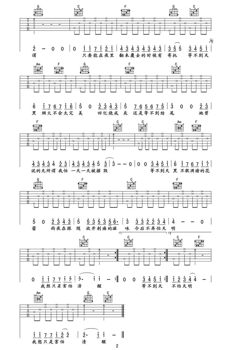 她说吉他谱-热门歌手林俊杰C调吉他谱下载