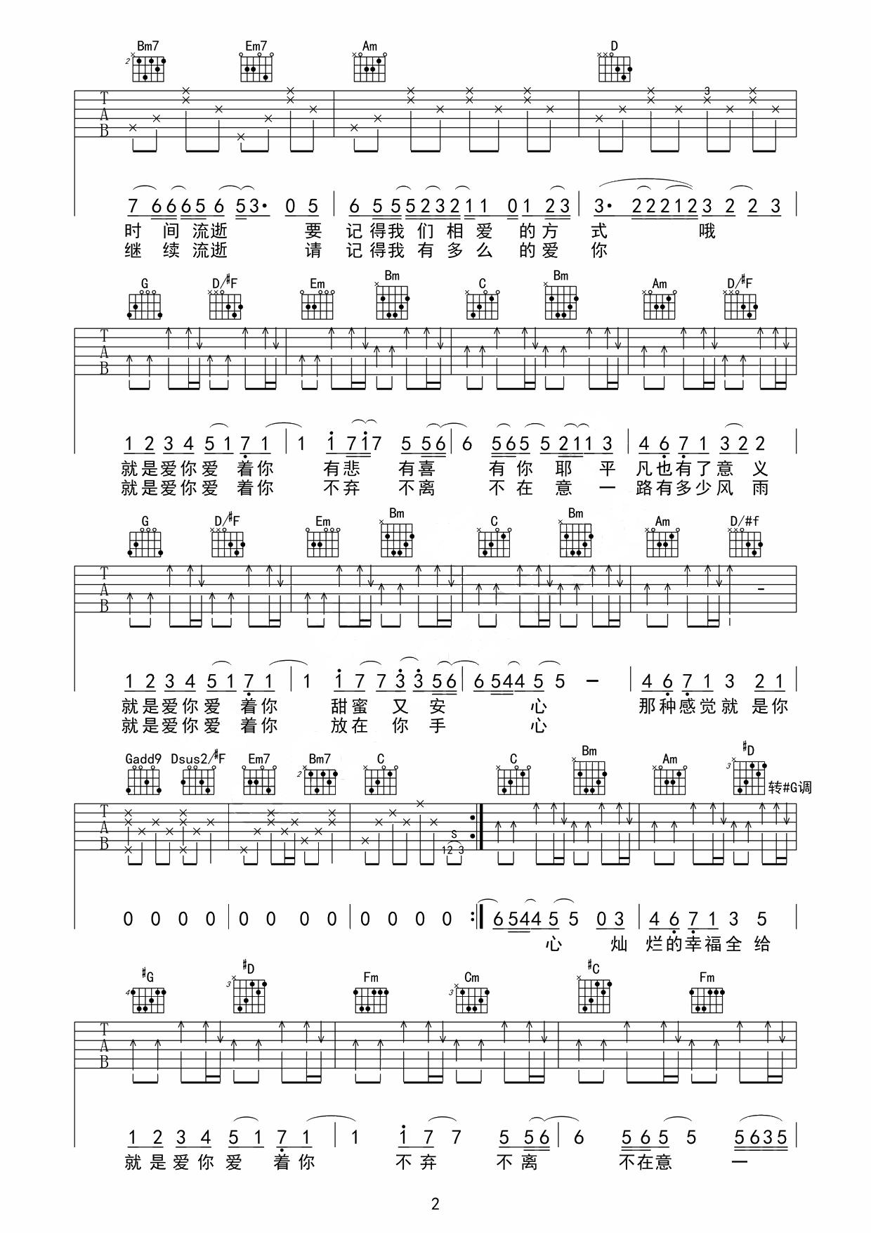 就是爱你吉他谱-歌手陶喆G调吉他谱