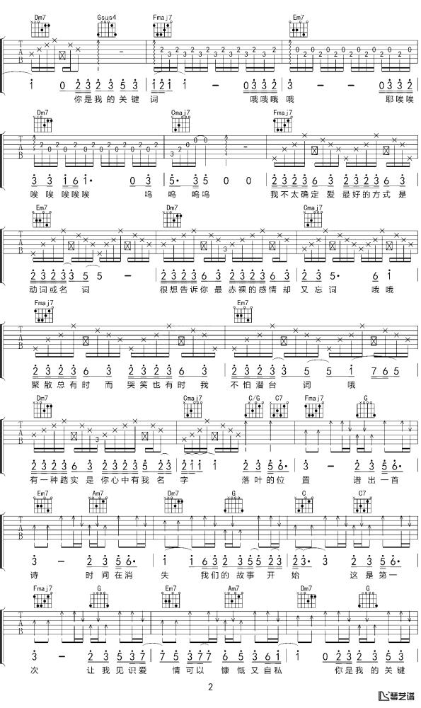 关键词吉他谱_林俊杰_C调吉他六线谱