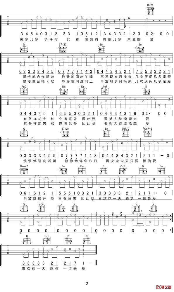 今天只做一件事吉他谱_歌手陈奕迅G调原版