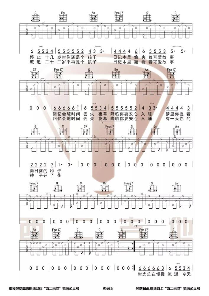 唐票儿《种子》吉他谱_弹唱谱_六线谱_C调指法