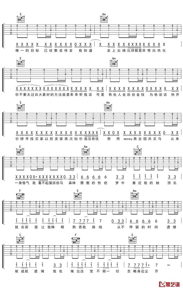 李沛轩《问题不大》吉他谱_弹唱谱_六线谱_指弹谱