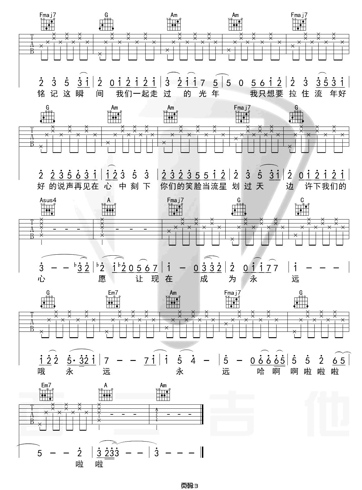 记念吉他谱_雷雨心_《记念》C调原版弹唱六线谱_高清图片谱3