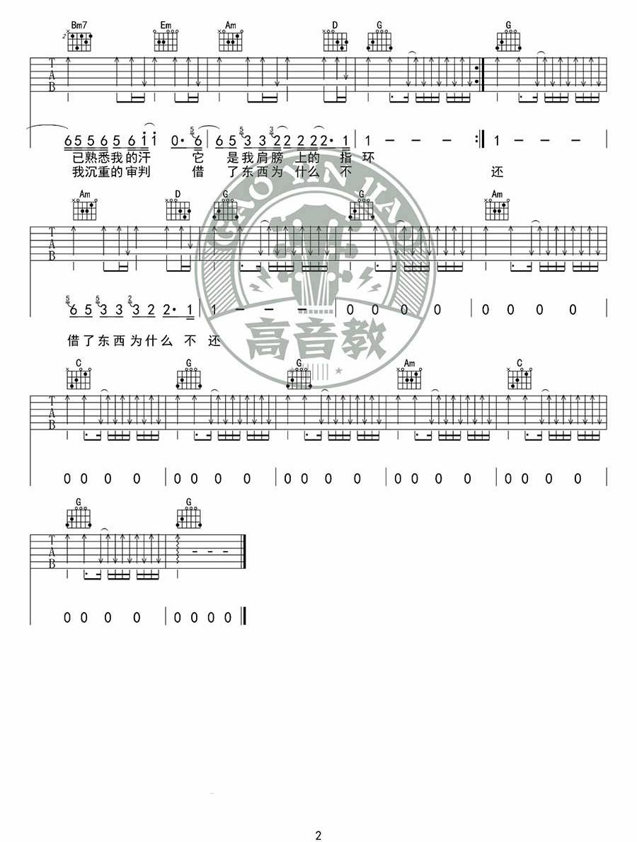 《你的背包》吉他谱_陈奕迅_G调原版弹唱六线谱_高清图片谱2