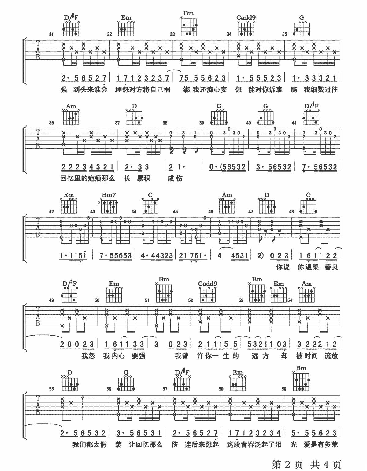 《回忆那么伤》吉他谱_孙子涵_G调原版弹唱谱_高清六线谱2