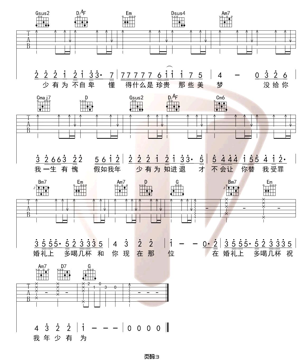 《年少有为》吉他谱_李荣浩_G调原版吉他弹唱六线谱_高清图片谱3