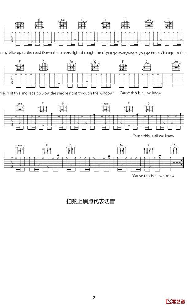 The Chainsmokersall we know吉他谱_吉他弹唱六线谱_高清吉他图片谱