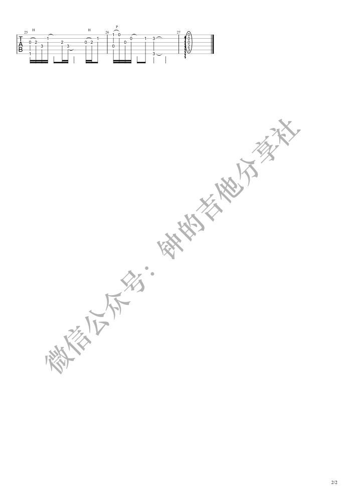 陈硕子凌晨三点吉他谱_高清吉他图片谱_抖音热曲