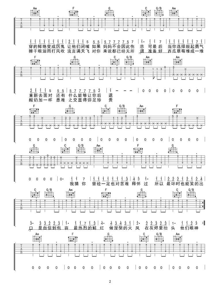 花粥是红吉他谱_吉他弹唱六线谱_高清吉他图片谱