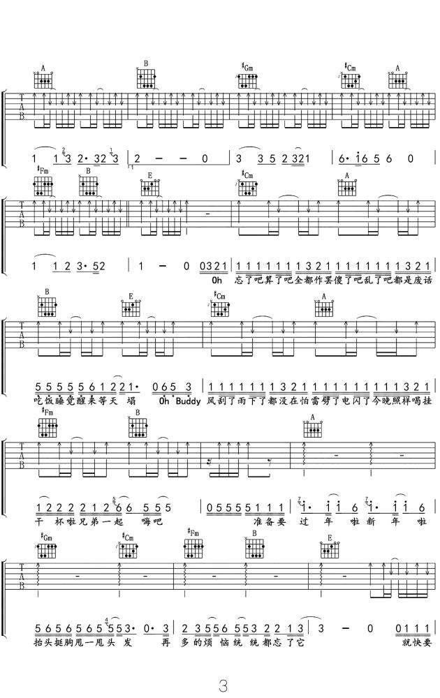 筷子兄弟天气预爆吉他谱_吉他弹唱六线谱_电影同名主题曲