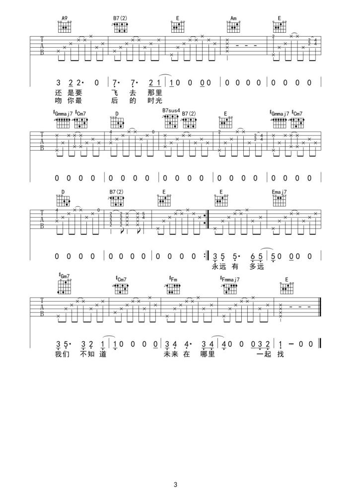孤鸟的歌吉他谱 - 马頔 - E调吉他六线谱3