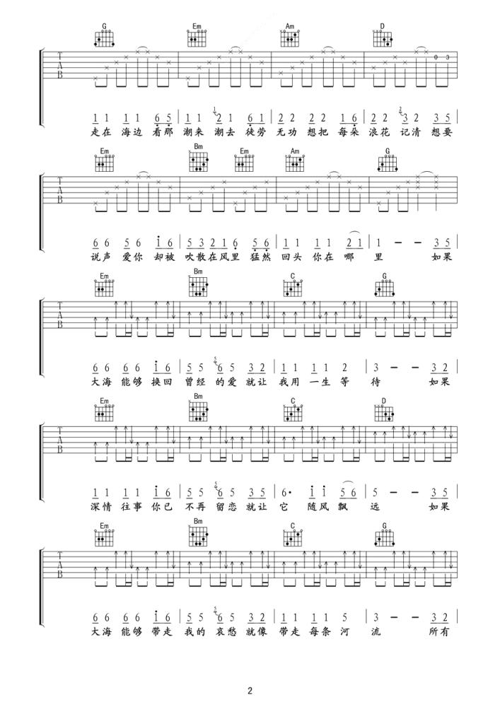 大海吉他谱 张雨生 从那遥远海边,慢慢消失的你2