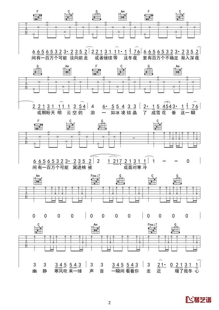 一百万个可能吉他谱  Christine welch 很纯净的心境,很繁华的世界2