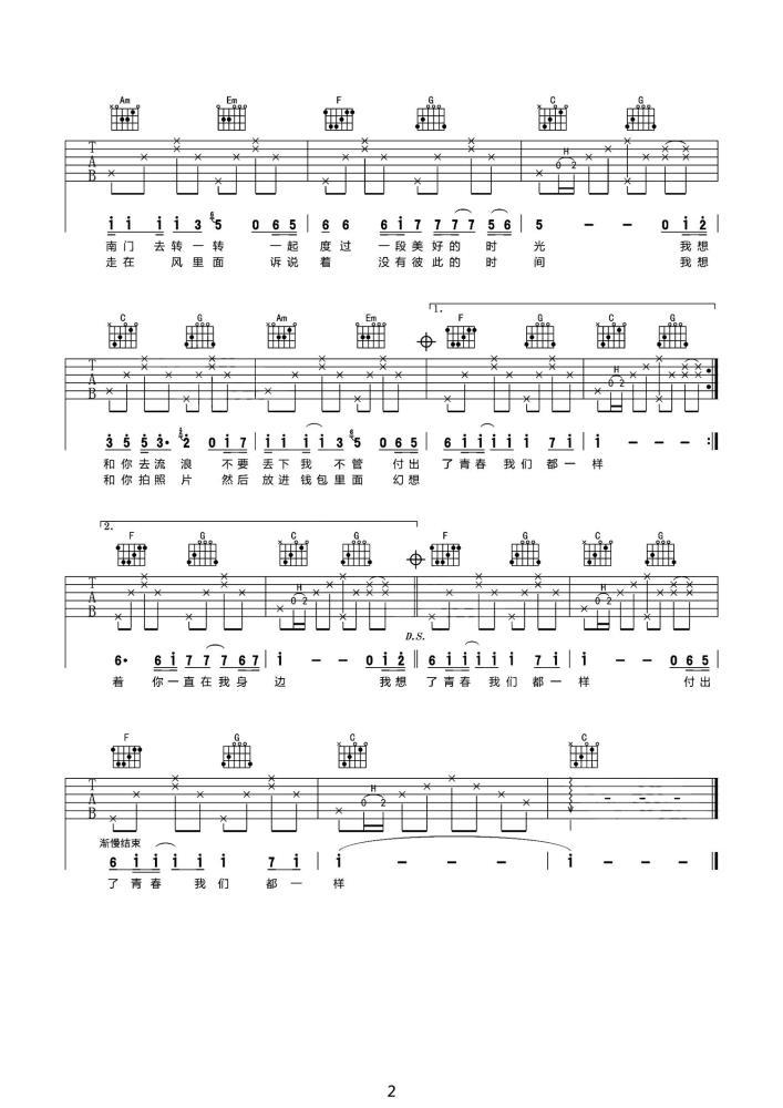 我想和你吃个饭吉他谱 - 林啟得 - C调简单版吉他六线谱