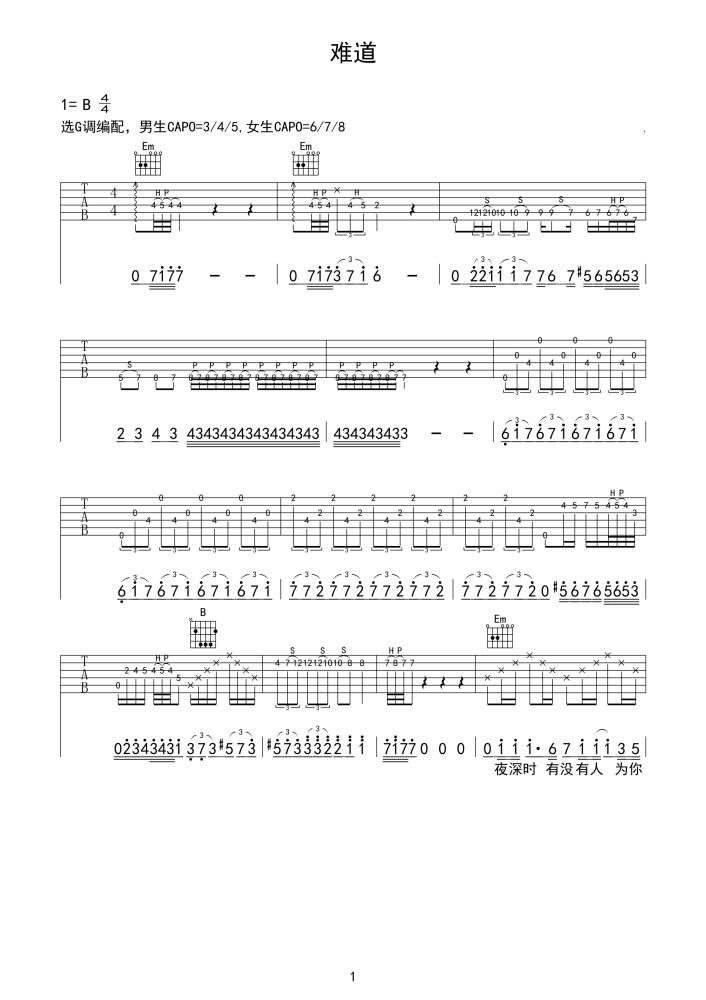 难道吉他谱 羽泉1