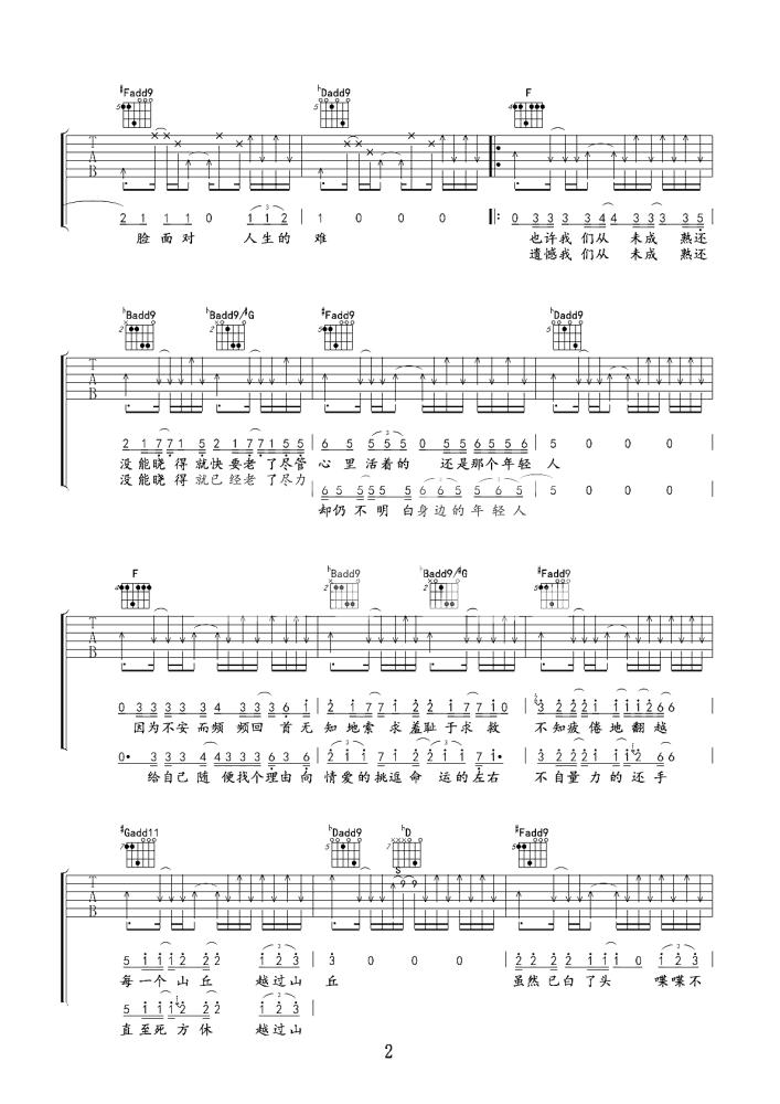 山丘吉他谱 - 李宗盛 - E调吉他六线谱 - 李宗盛吉他弹唱谱2
