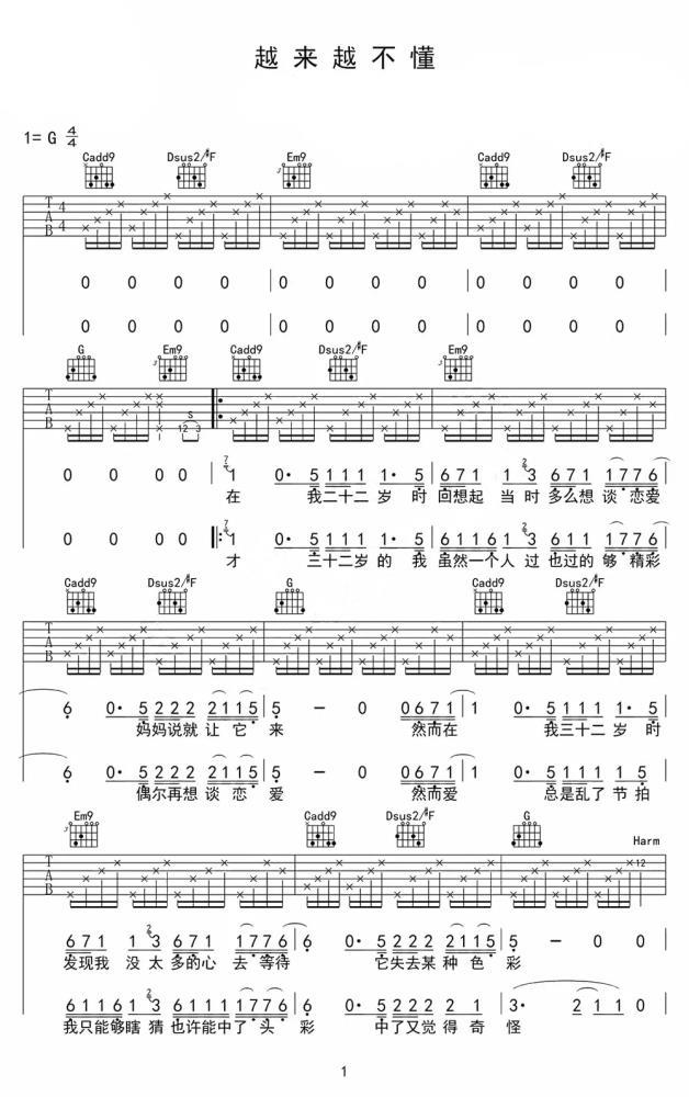 越来越不懂吉他谱 蔡健雅 迷茫的人生谁不曾有过1
