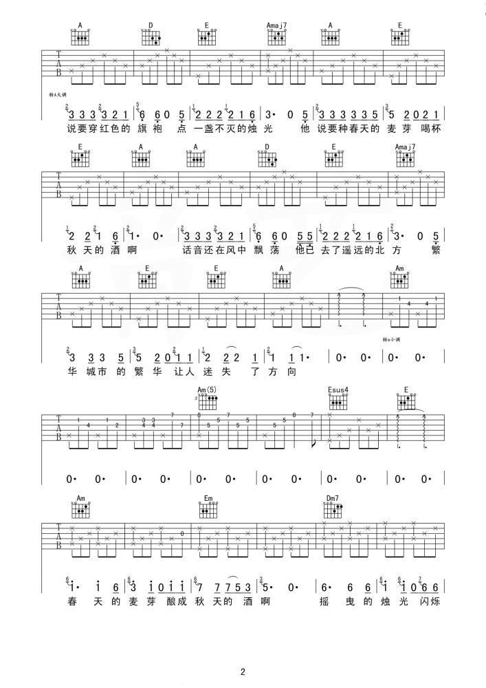 秋酿吉他谱 房东的猫 意外干净的吉他声,意外悠扬清澈的旋律2