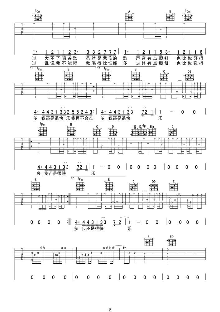 我很快乐吉他谱(刘惜君演唱)高清吉他六线谱图片2