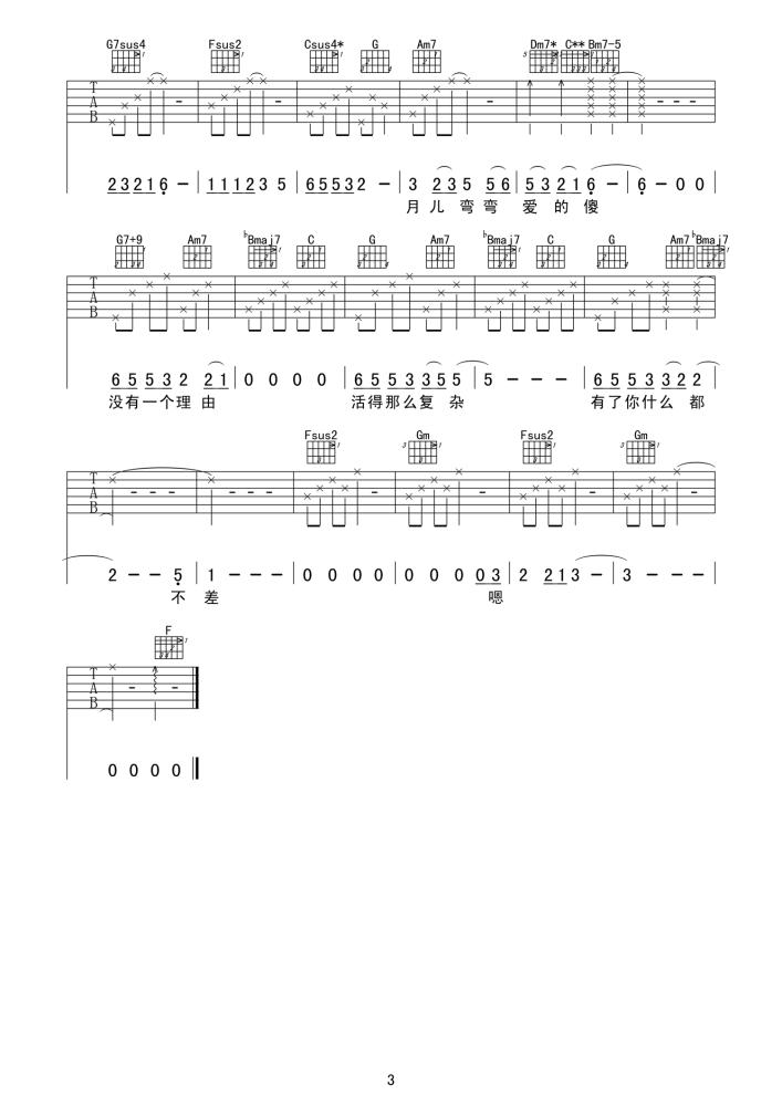 柴米油盐酱醋茶吉他谱-王力宏演唱-F调吉他六线谱3