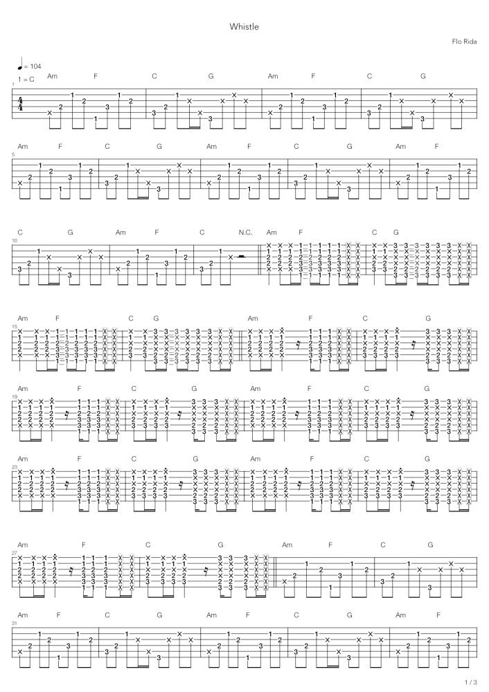 whistle吉他谱 Flo Rida 愉快轻松的节奏,清凉的沙滩1