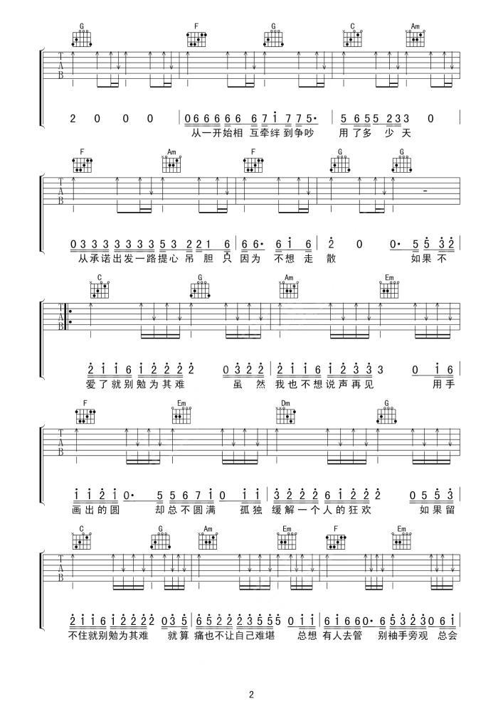勉为其难吉他谱_王冕_C调勉为其难扫弦版吉他谱练习2