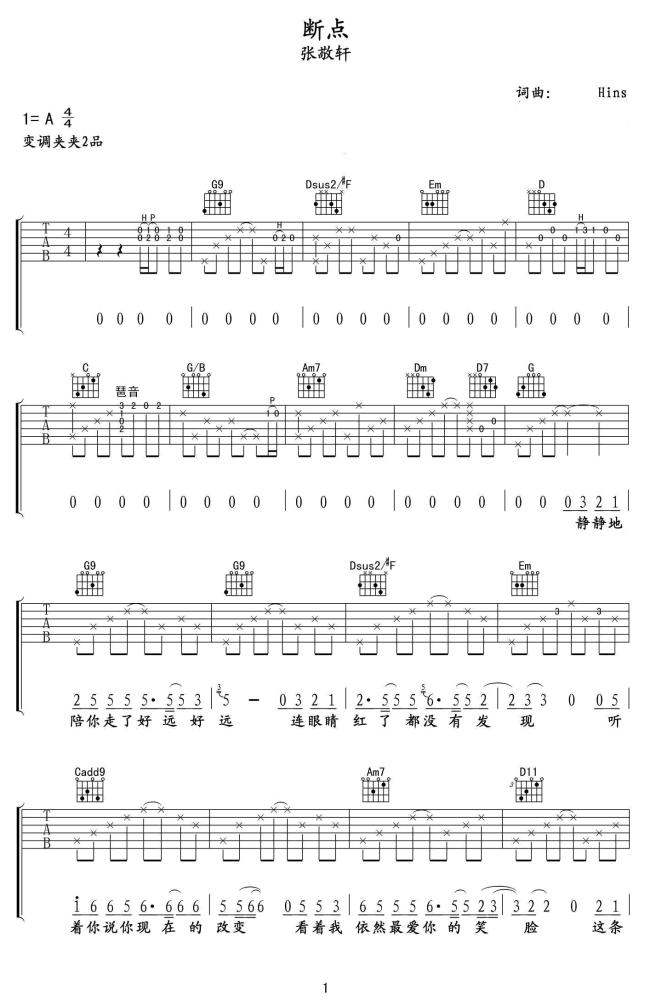 断点吉他谱 张敬轩 我们有过的从前,所有的画面1