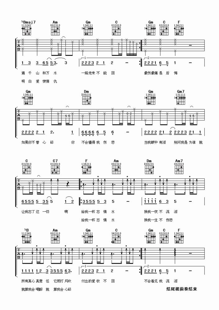 刘德华忘情水吉他谱_吉他弹唱_高清吉他图片谱