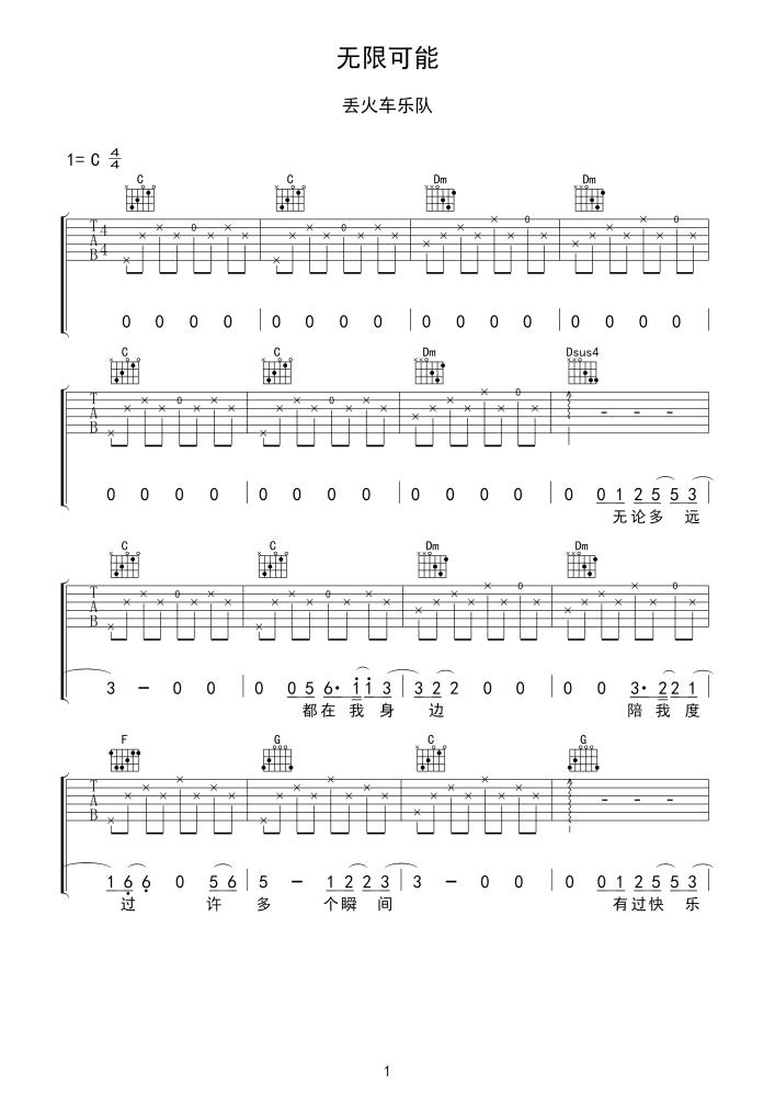 丢火车乐队无限可能吉他谱_高清吉他图片谱_六线谱