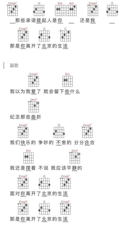 薛之谦那是你离开了北京的生活吉他谱_高清吉他图片谱