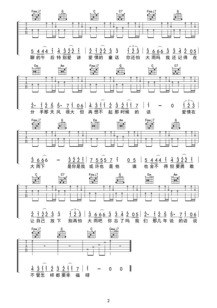 万能青年你还怕大雨吗吉他谱_吉他弹唱_高清吉他图片谱_六线谱
