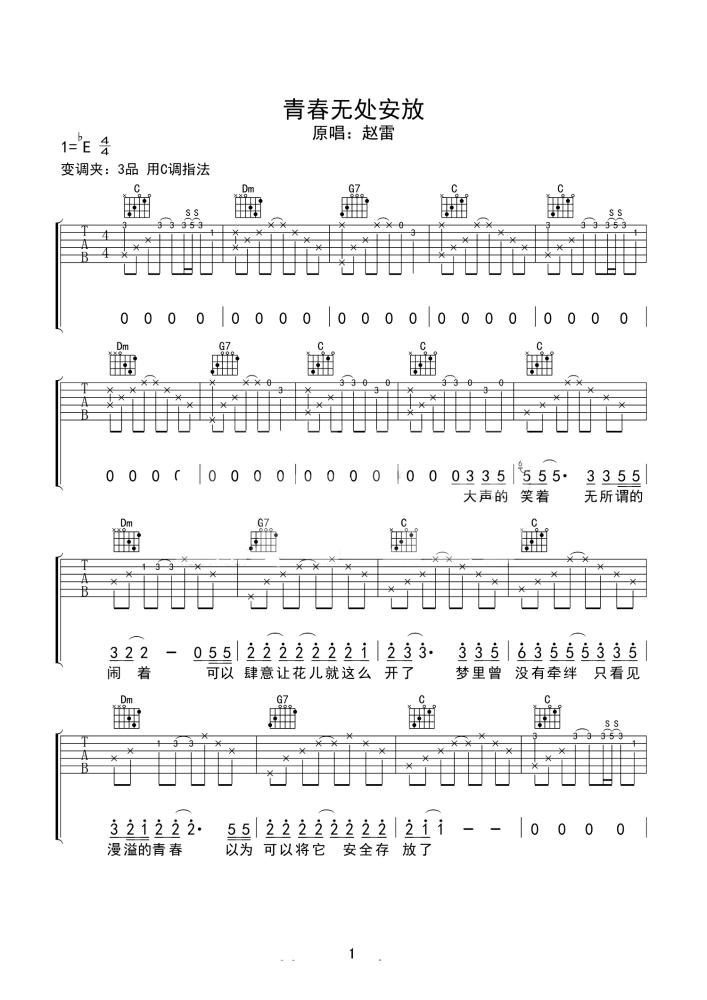 赵雷青春无处安放吉他谱_吉他弹唱_高清吉他图片谱_六线谱