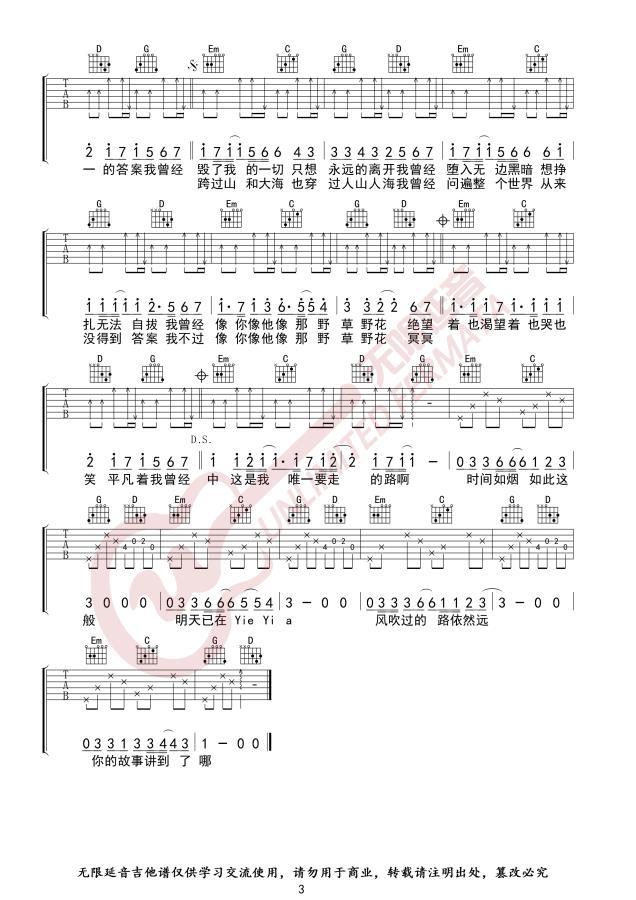 朴树平凡之路吉他谱_吉他弹唱_G调指法