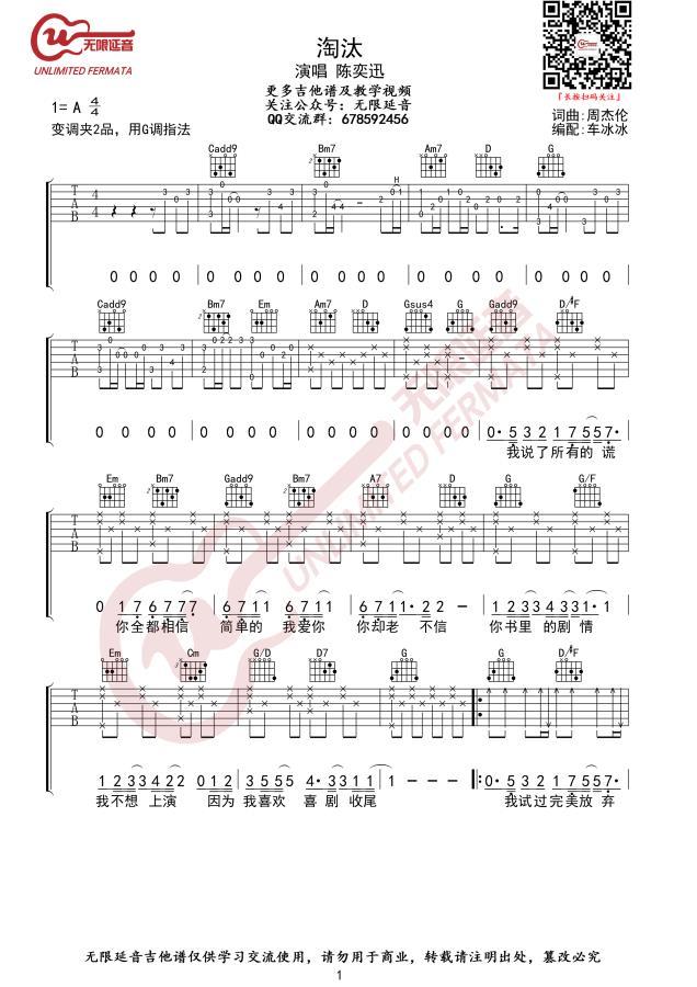 陈奕迅淘汰吉他谱_G调指法_吉他弹唱