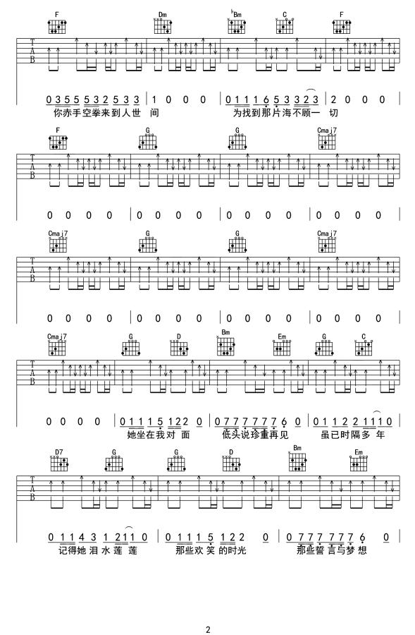 许巍生活不止眼前的苟且吉他谱_吉他弹唱_高清吉他图片谱