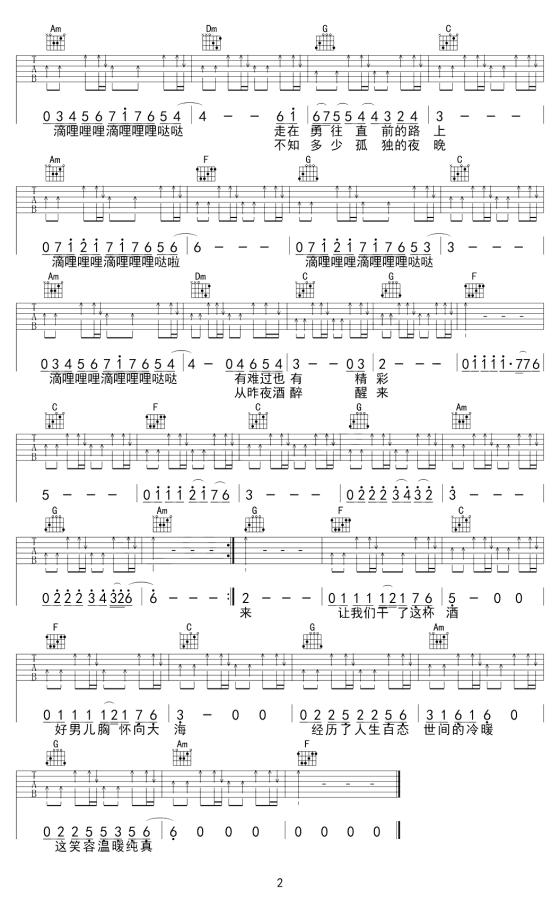 许巍曾经的你吉他谱_吉他弹唱_高清吉他图片谱
