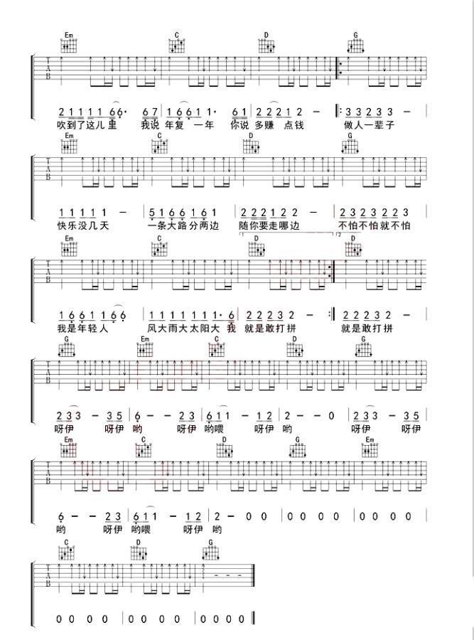 《大田后生仔》抖音最新_吉他谱