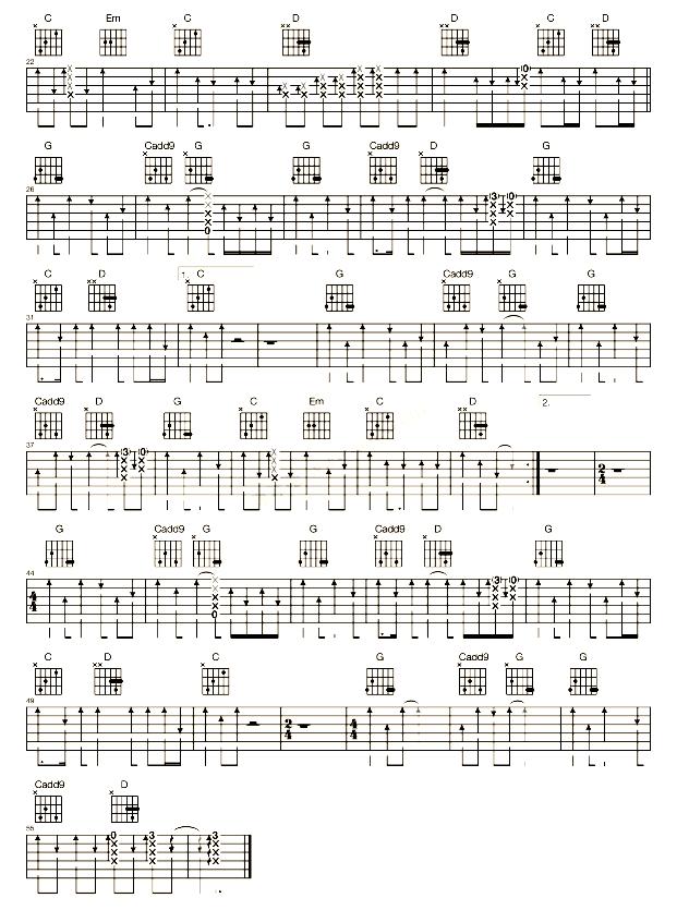 《坦白》天堂乐队_吉他谱