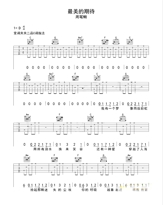 《最美的期待》抖音最新_吉他谱