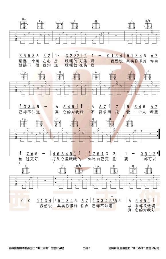 暖暖吉他谱 梁静茹-2