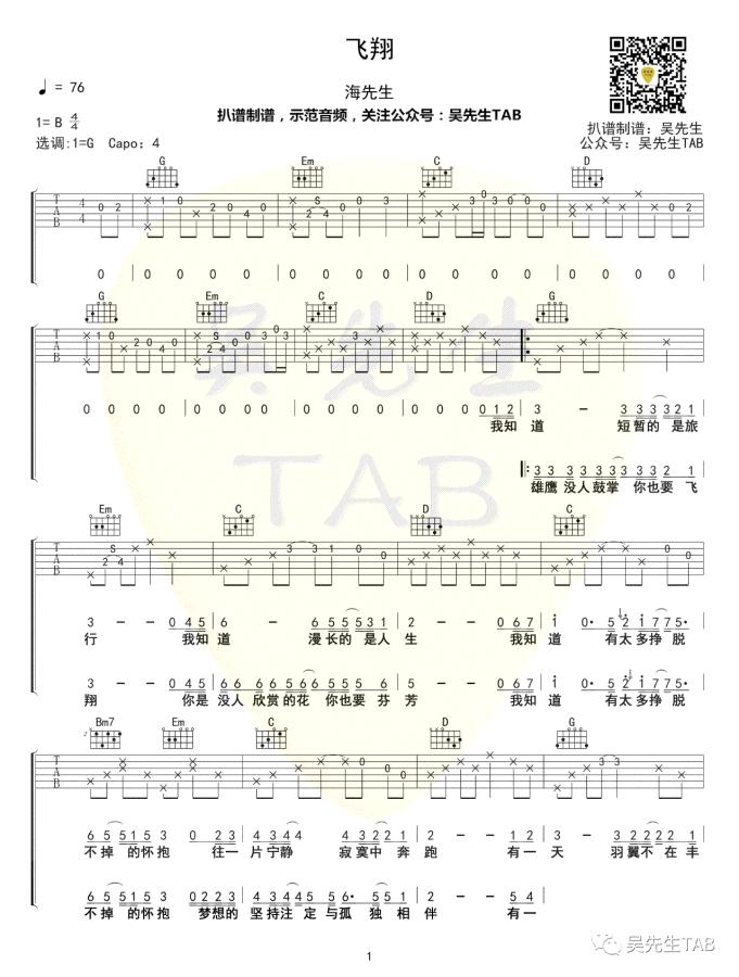 海先生《飞翔》吉他谱-1